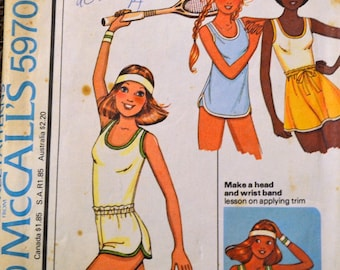 Vintage Sewing Pattern McCall's 5970  Misses'  T-shirt Shorts Skirt Bust 30-32 inches  Complete
