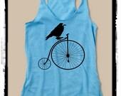 Raven Bird on Bike Girls Ladies Heathered Tank Top Shirt silkscreen screenprint Alternative Apparel