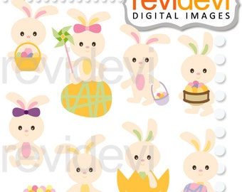 Easter clipart / digital images / commercial use / Easter bunny / Adorable Easter Bunnies Clipart 08141