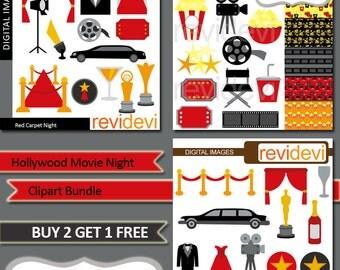 Red carpet night Hollywood party clipart sale bundle / movie night clip art / tuxedo, limousine, award, popcorn, ticket