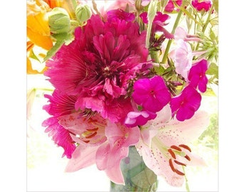 Magenta Hollyhock Photograph, Neon Floral Art Print, Flower Wall Decor, Floral Art Print