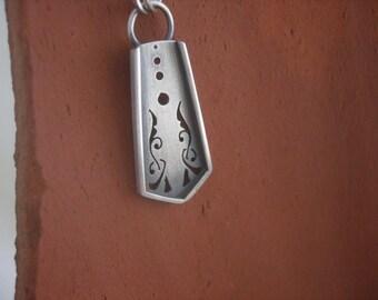Manuscript sword necklace in Sterling Silver.