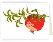 Pomegranate on a Branch:  Boxed Set of 8 Blank Greeting Cards