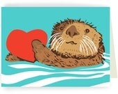 Otter with Heart - blank greeting card