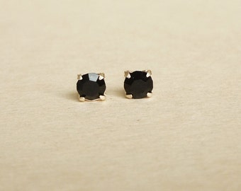 4 mm  Small Jet Black Crystal 925 Sterling Silver Stud Earrings - Bridesmaid Gift - Gift for Her - Hypoallergenic Second Hole Earrings