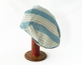 Drivers Cap in Light Blue and Cream Striped Linen: Mens, Womens Hats, Flat Cap