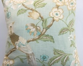 Aqua Pillow Cover with Birds and Flowering Branches -- 16 x 16