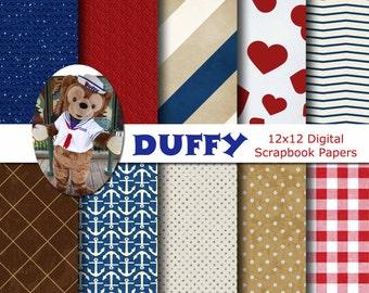 Disney Duffy Bear Inspired 12x12 Digital Paper Backgrounds for Digital Scrapbooking -INSTANT DOWNLOAD -