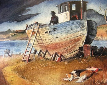 Watercolor Painting Old dog, Old boat, Old memories... quality Art print by Artist Barry Singer