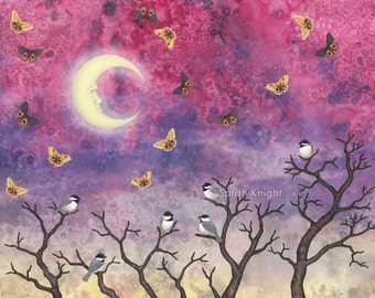 chickadees and io moths in the moonlit sky - illustration art print 8X10 inches, face moon cute gray birds trees pink blue yellow picture