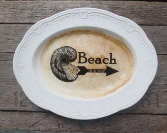 Beach Sign // Seashell Print // Rustic Beach COTTAGE // Weathered Sign // Shabby Beach // Coastal Decor // Nautical Wall Decor