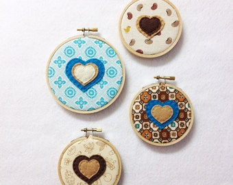 Fabric Wall Art - Brown and Teal - Bubbles of Love - Embroidery Hoop Hearts