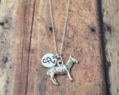 Zebra initial necklace - zoo necklace, silver zebra necklace, animal necklace, zebra pendant necklace, African animal necklace, zoo jewelry
