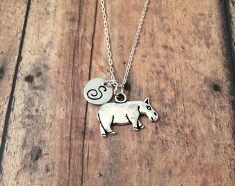 Hippopotamus initial necklace - hippo jewelry, African animal jewelry, zoo animal charms, animal jewelry, silver hippo necklace