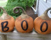 Primitive Pumpkin Halloween set Boo shelf sitters
