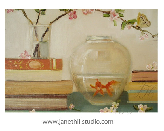 Still Life.  The Goldfish And The Butterfly.  Art Print