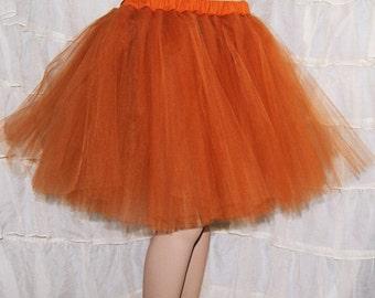 SteamPunk Copper Orange Romance Knee Length TuTu skirt adult All Sizes MTCoffinz
