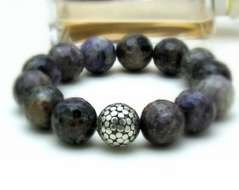 Purple Chara River Charoite Beaded Bracelet, Modern Purple Stretch, by cooljewelrydesign, For Her Under 120