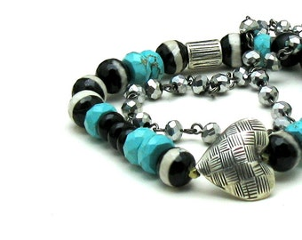 Turquoise and Silver Heart Boho Beaded Bracelet, Boutique Wearable Art Stretch Bracelet, for her Under 175, Mom Girlfriend Gift