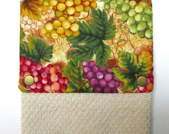 Towel, Hanging towel, Hand towel, Kitchen towel, bar towel, oven, snap on towel, guest towel, camper, 100% cotton, Grapes and vines print