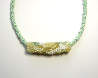 Cream Freeform Peyote Tube Necklace - Off White Beaded Slide Necklace - Mint Green Kumihimo Cord Slider - Ivory Colored Beadwoven Necklace