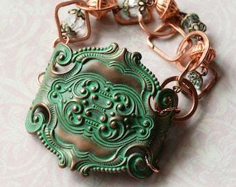 Green Bracelet, Patina Cuff Bracelet, Verdigris Patina Copper Cuff, Verdigris Jewelry, SRAJD, FineAndDandy, Boho Cuff, Renaissance Fest cuff