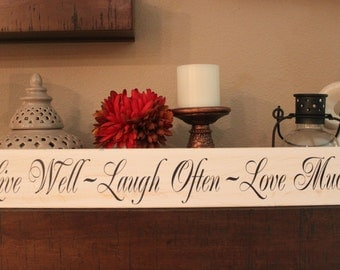 Live Well Laugh Often Love Much, Live, Laugh, Love, Wood sign - Style HM18