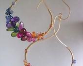 Multi Gemstone Hoops, Gold Filled Sculptural Hoops, Rainbow  Kisses, Sapphire, Ruby, Amethyst, Artisan Handmade, Original Design, Signature
