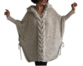 Plus Size Knitting Poncho with Hoodie - Over Size Tweed Beige Cable Knit by Afra
