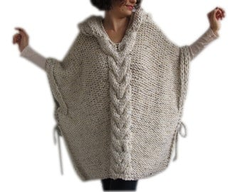 Cyber Week Sale !!! Tweed Beige Hand Knitted Poncho with Hood
