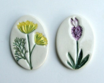 Set of Two Handmade, Hand Painted, Ceramic Refrigerator Magnets, Lavender and Dill