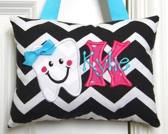 Tooth Fairy Pillow - Black Chevron Girl