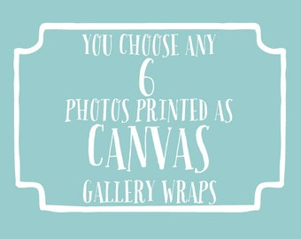 You choose 6 photos printed as canvas gallery wraps - beach photography, nursery wall art, childrens art, shabby chic decor, typography art