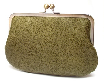 Clutch bag, leather purse, silk-lined, FOREST moss green handbag
