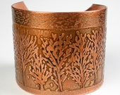 Etched Copper Bracelet, Rustic Copper Cuff, Hammered, Hand-Drawn Etched Design, Metalwork, Abstract Aspens, Trees, Heat Patina- Color Change