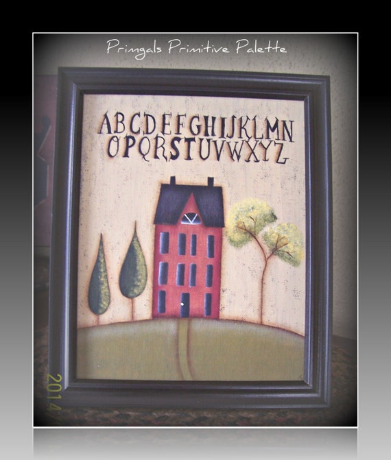 Primitive Hp Saltbox House Canvas Sampler Home Decor By