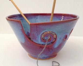 Purple Blue Spiral Large Ceramic Wheel Thrown Yarn Bowl - MADE TO ORDER