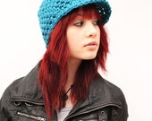 NEW Little Canadian Brimmed ball cap warm wool winter hat turquoise blue mermaid