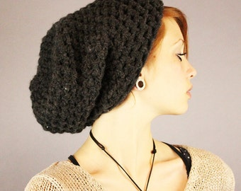 Oh Johnny slouch hat warm wool winter charcoal black