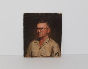 Vintage Kosrof Mooradian Oil Painting of WWII U.S. Army Corporal