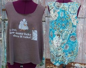 Tootsie Pop Mr Owl Upcycled High-Low Tank Top with Semi Sheer Mesh Back size M DIY
