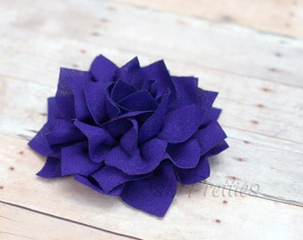 Purple  Flower Hair Clip - Lotus Blossom - With or Without Rhinestone Center