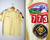 Vintage 80s Boy Scouts of America Yellow Short Sleeved Button Down Shirt