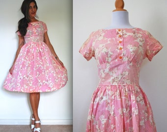 Vintage 50s Pink Floral Circle Dress (size extra small, small)
