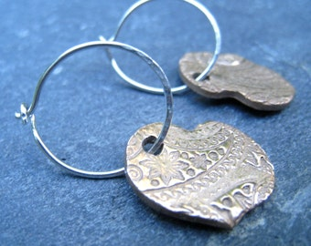 Bronze Heart and Sterling Silver Heart Mixed Metal Earrings hoop earrings textured earrings boho tribal rustic gold and silver metal clay