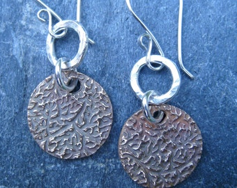 Bronze and Hammered Sterling Silver Mixed Metal Earrings dangle earrings textured boho tribal rustic gold and silver artisan handmade