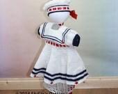 Crochet pattern For Baby Sailor Dress & Beret in 3 Sizes PDF 184 Digital Download, UK, USA, Français