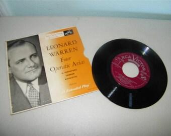 Vintage Leonard Warren Four Operatic Arias 45 RPM Record 9715 RCA Victor ERA 114