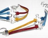 autism bracelet |autism awareness | silver puzzle charm | charm bracelet | leather cord bracelet | awareness ribbon charm