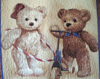 51. Baby quilt with cutie bear. Could work for boy or girl. Will wash very well has Hobbs batting. Made from panel.